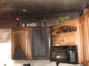 Fire damaged ceiling