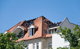 Damaged roof after fire